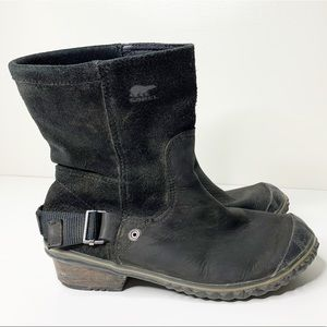 Sorel slimshortie black suede/leather duck boots